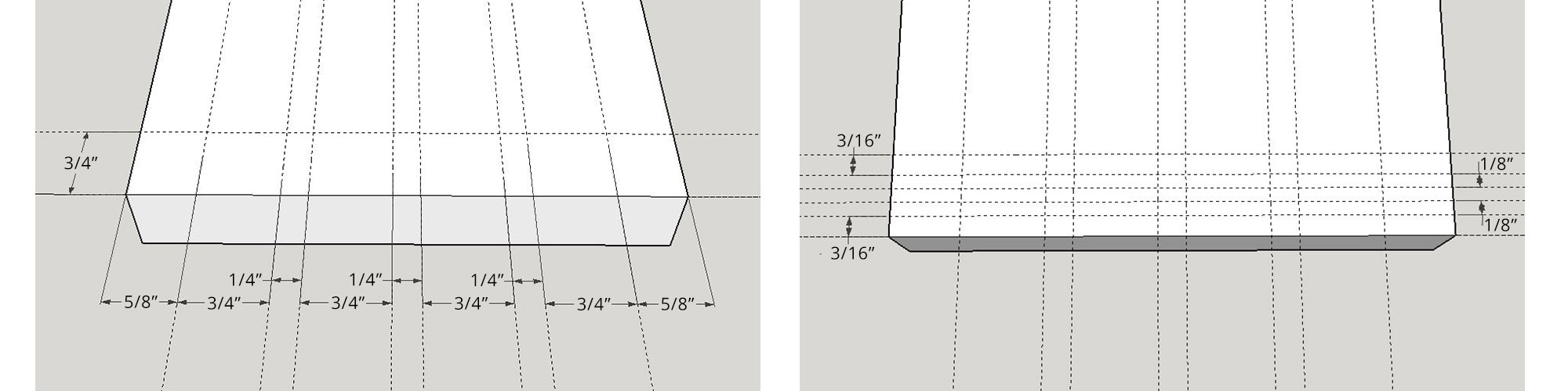 Left: Vertical spacing. Right: Horizontal spacing.