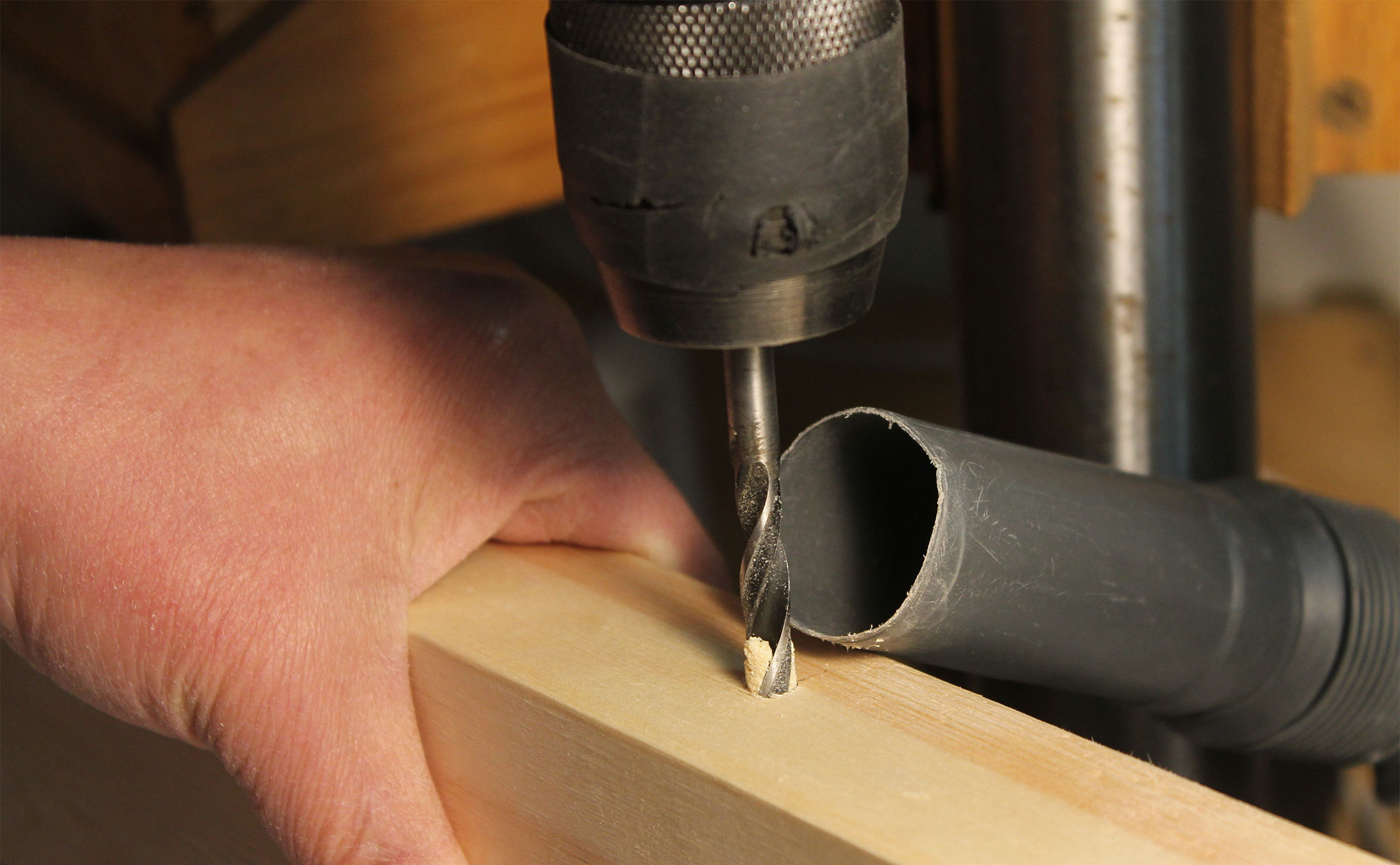 Drilling the center mounting hole.