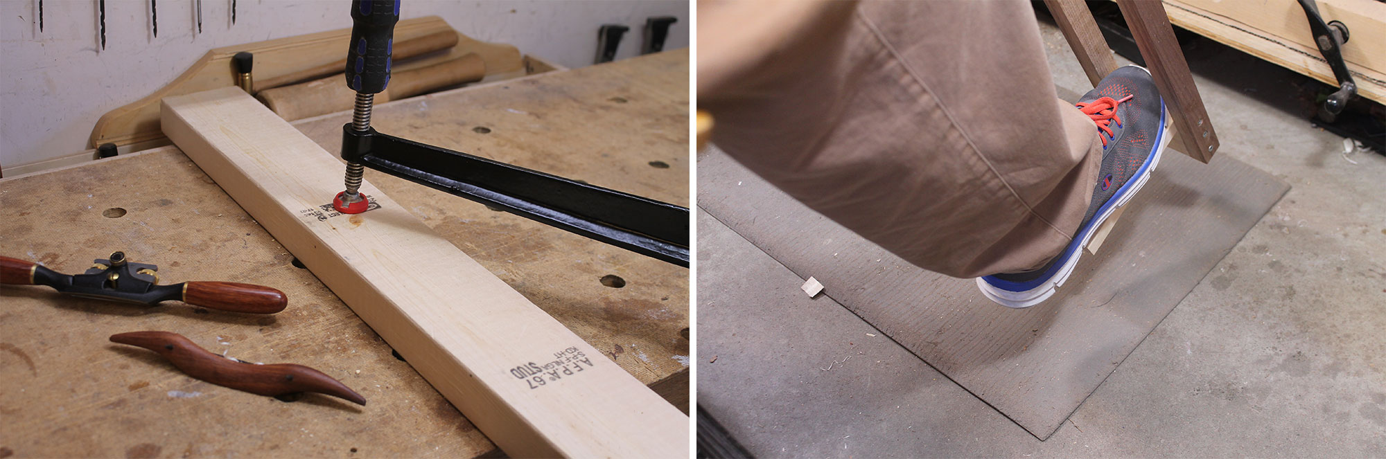 Left: Securing the beam on the bench. Right: Foot pushing the pedal.