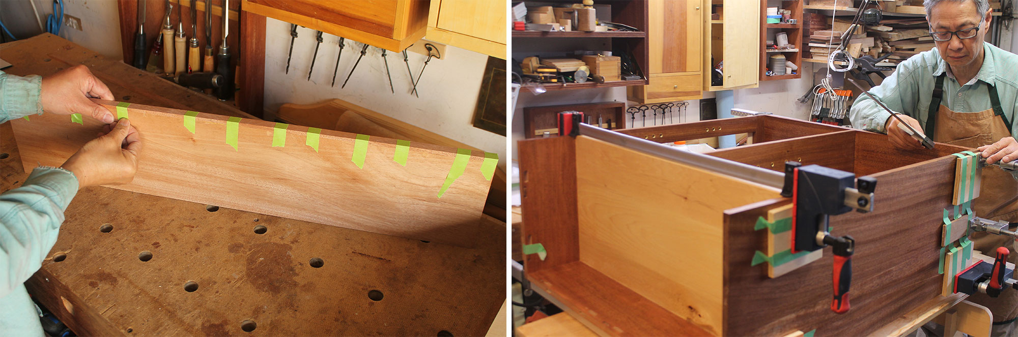 Left: Using tape for a small clamping task. Right: Using tape to hold pads in position.