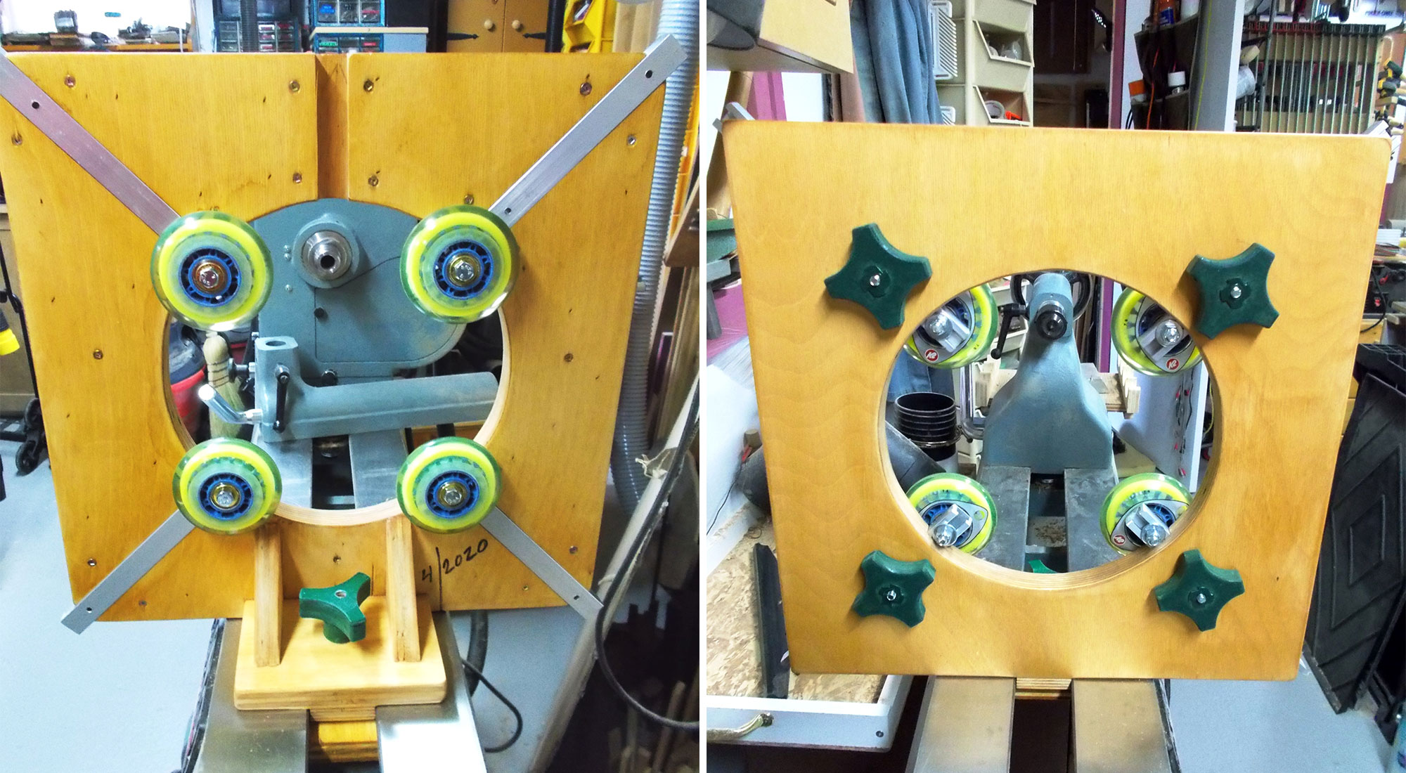 Left: The completed steady rest – front and back. Right: Completed steady rest – back.