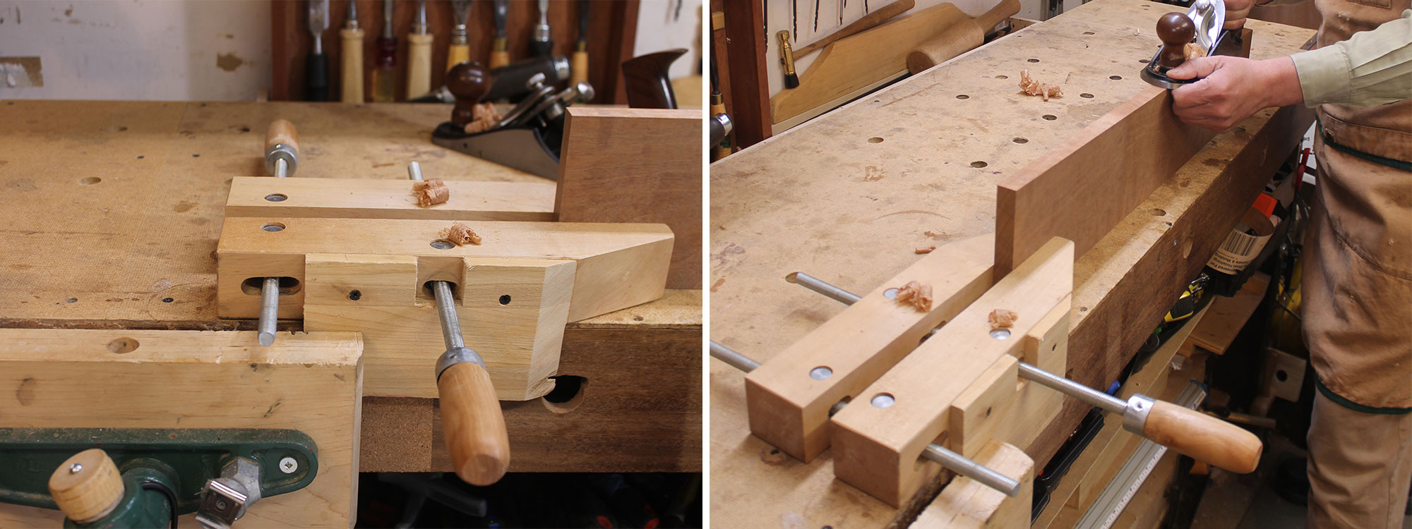 Image left: Using a handscrew with a bench vise. Image right: Using the clamp as a vise on the bench top.