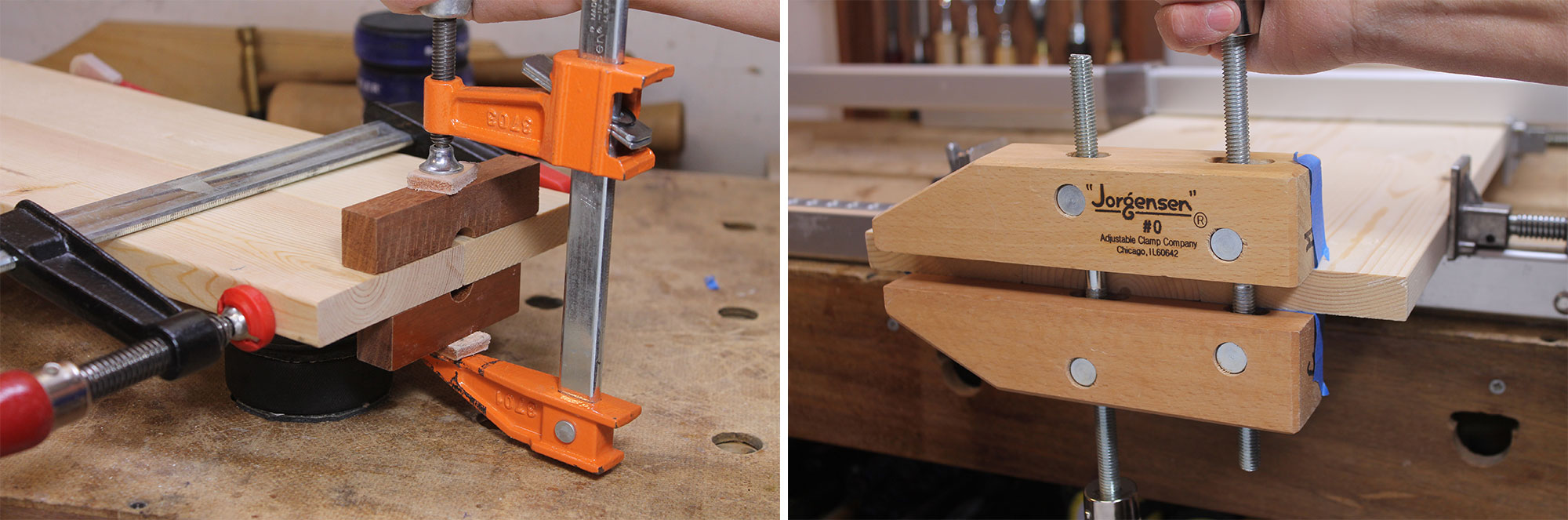 Image left: Using notched blocks to flush up the boards at the outer ends of each joint. Image right: Tape prevents glue from marring the handscrew.