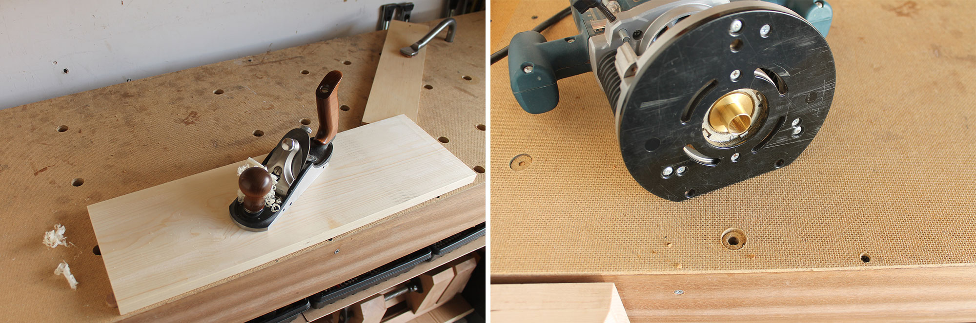 Left: Workholding with a doe's foot. Right: Drilling the waste.