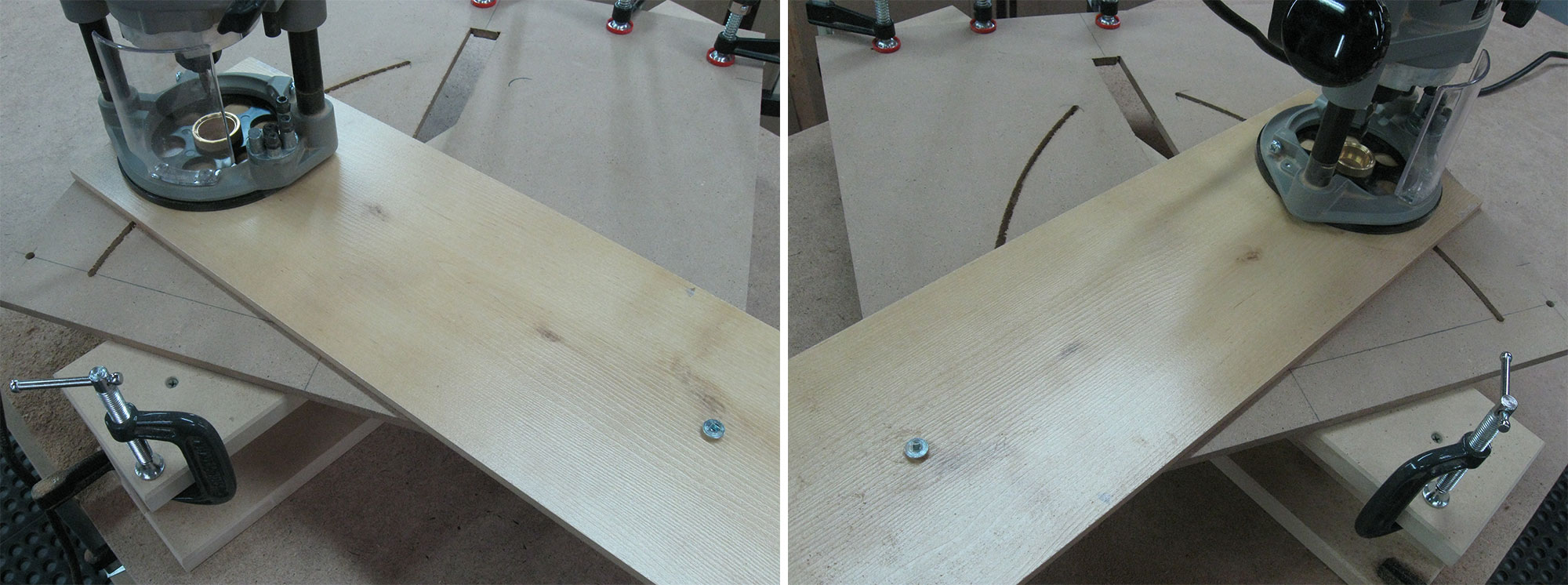 Left: Cutting the first arc. Right: Cutting the second arc.