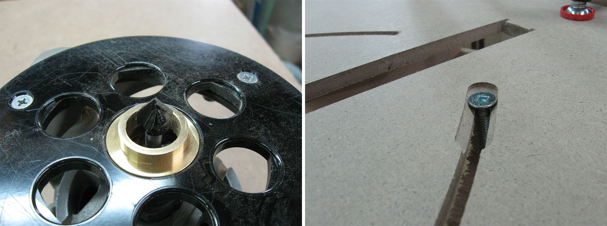 Left: V-groove bit installed in router. Right: Chamfered slot produced by V-bit.