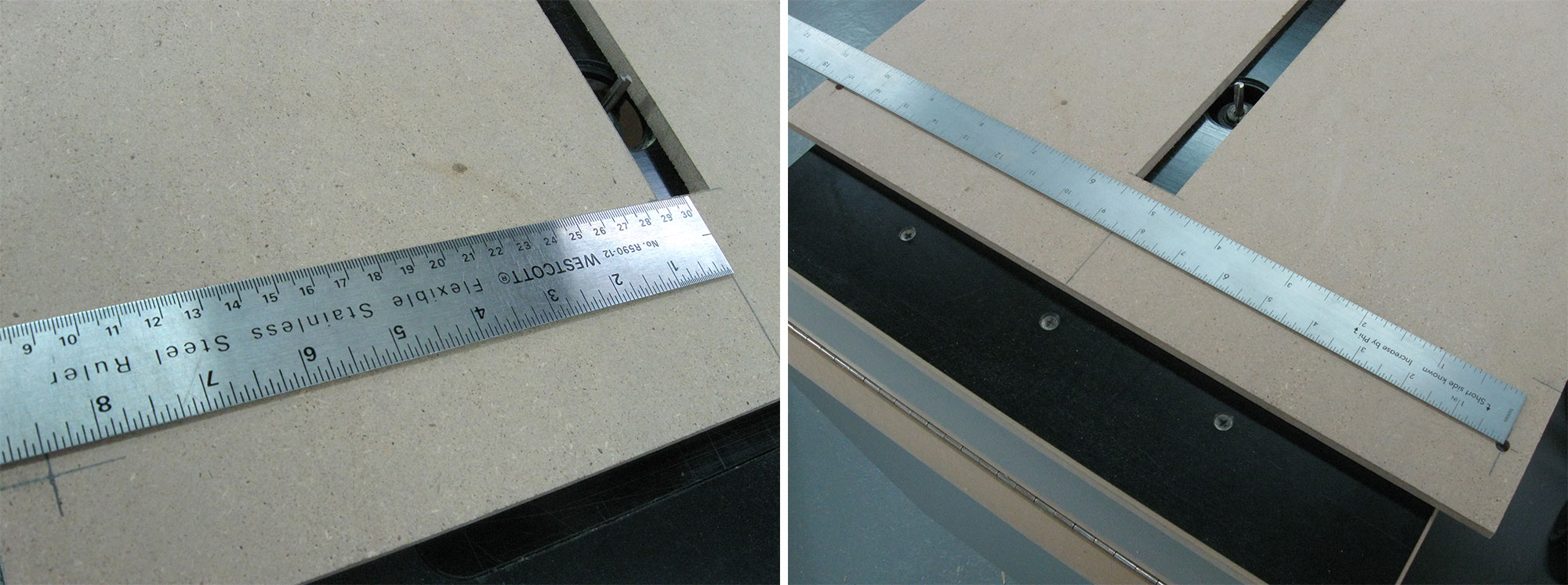 Left: Marking the position of the second pivot point. Right: Marking start/stop points of arced slots.