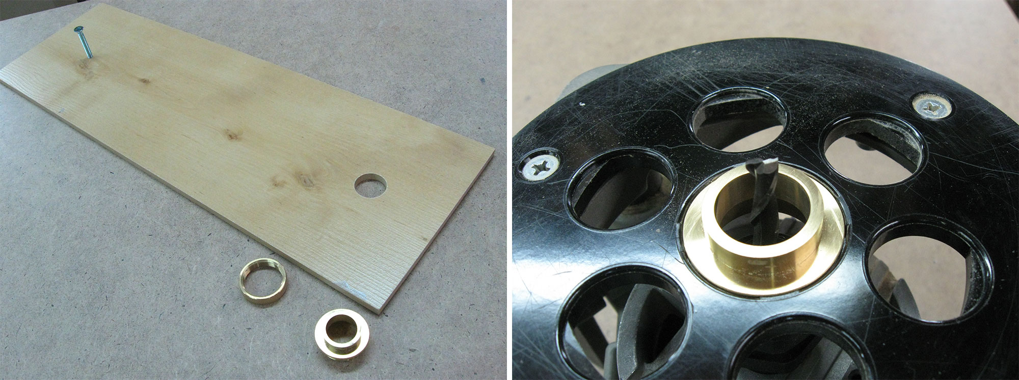 "Left: Holes drilled into trammel. Right: 1"" guide bushing installed in router baseplate."