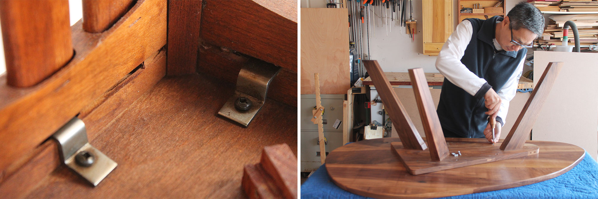 Left: Using Z-clips to attach the tops so they can move across their width. Right: Screwing the table top to its base using elongated holes.
