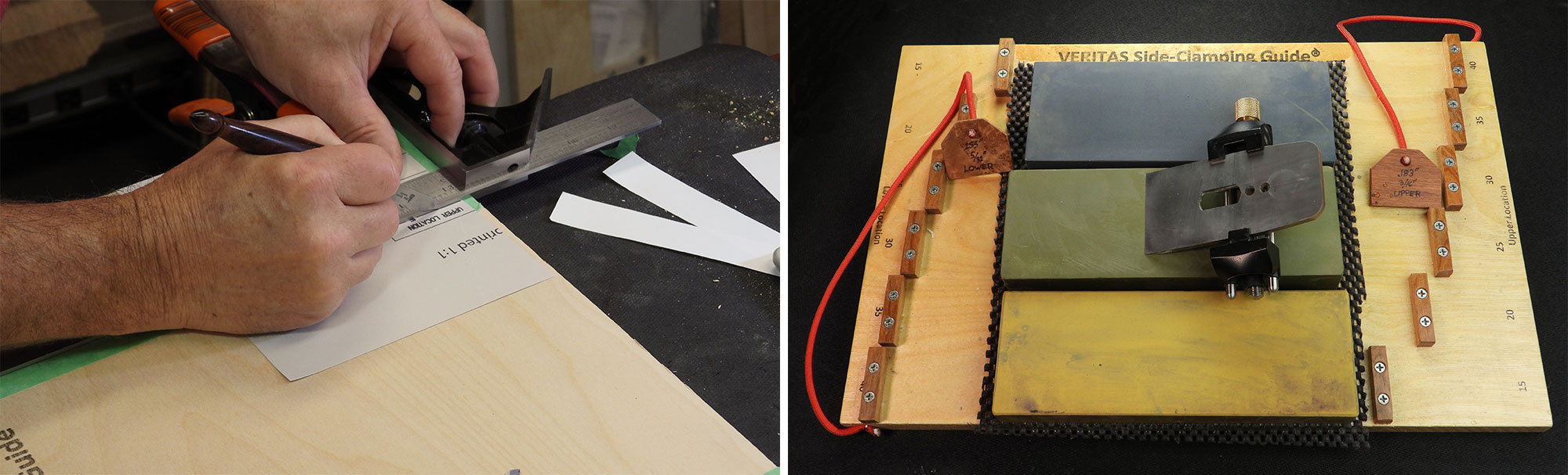 Image left: Marking the stop block locations. Image right: Stop-style jig with glued blocks.