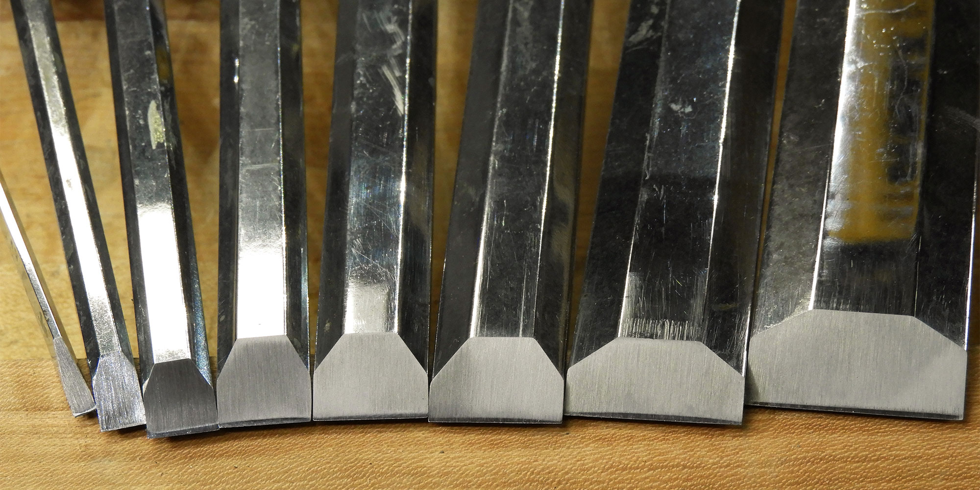 The set of chisels after their final honing.
