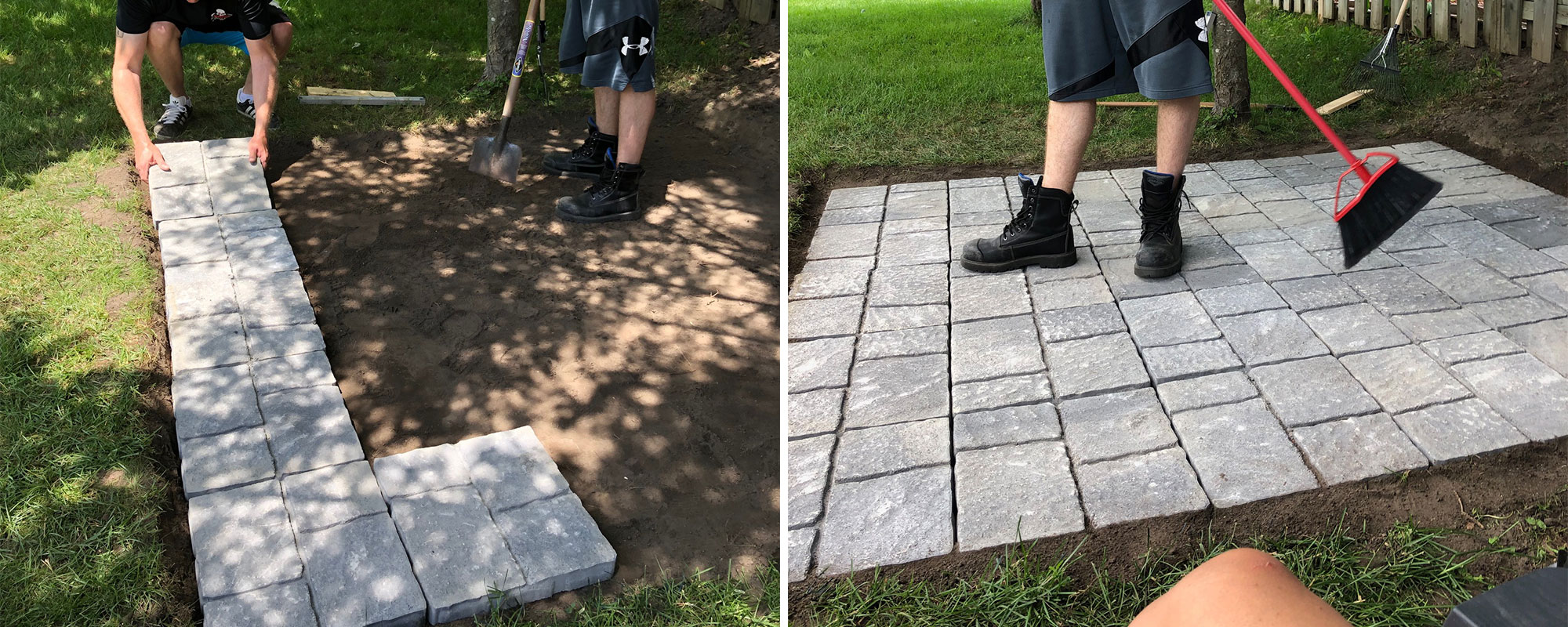 Image left: Positioning the patio stones on which the bar will sit. Image right: Sweeping completed patio area for bar.