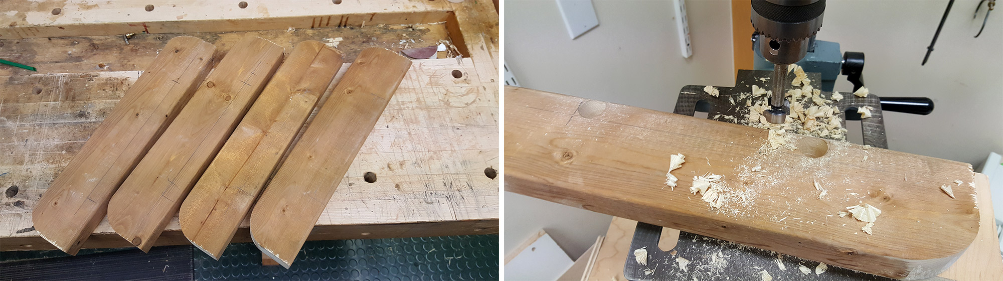 """Left: Feet after radius had been cut. Right: Drilling two 1"""" holes."""
