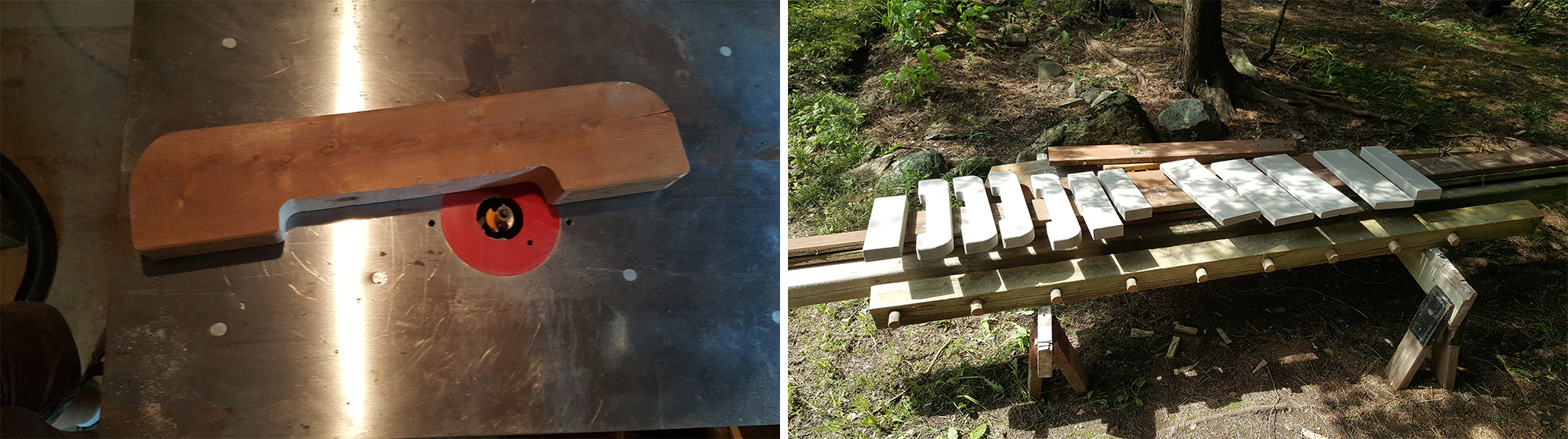 """Left: Giving the cut edges a 1/4"""" radius. Right: Staining all the parts."""
