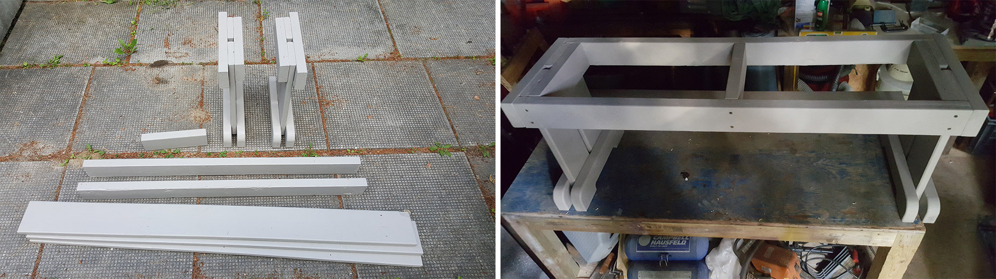 Left: Parts ready for assembly. Right: Assembling the bench.