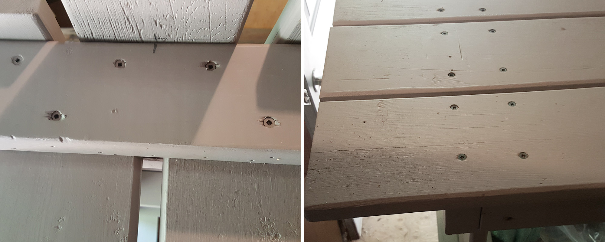 Left: The middle board screwed in place. Right: Boards screwed in place.