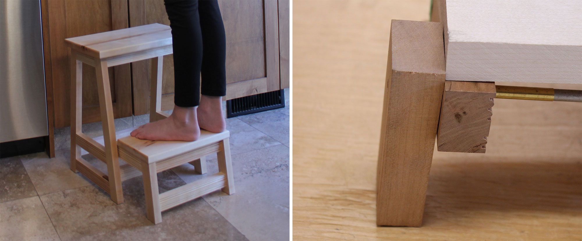 Left: A young girl standing on a stool with a hinged step. Right: The pin-hinge system for the stool was stress-tested using a mock-up.