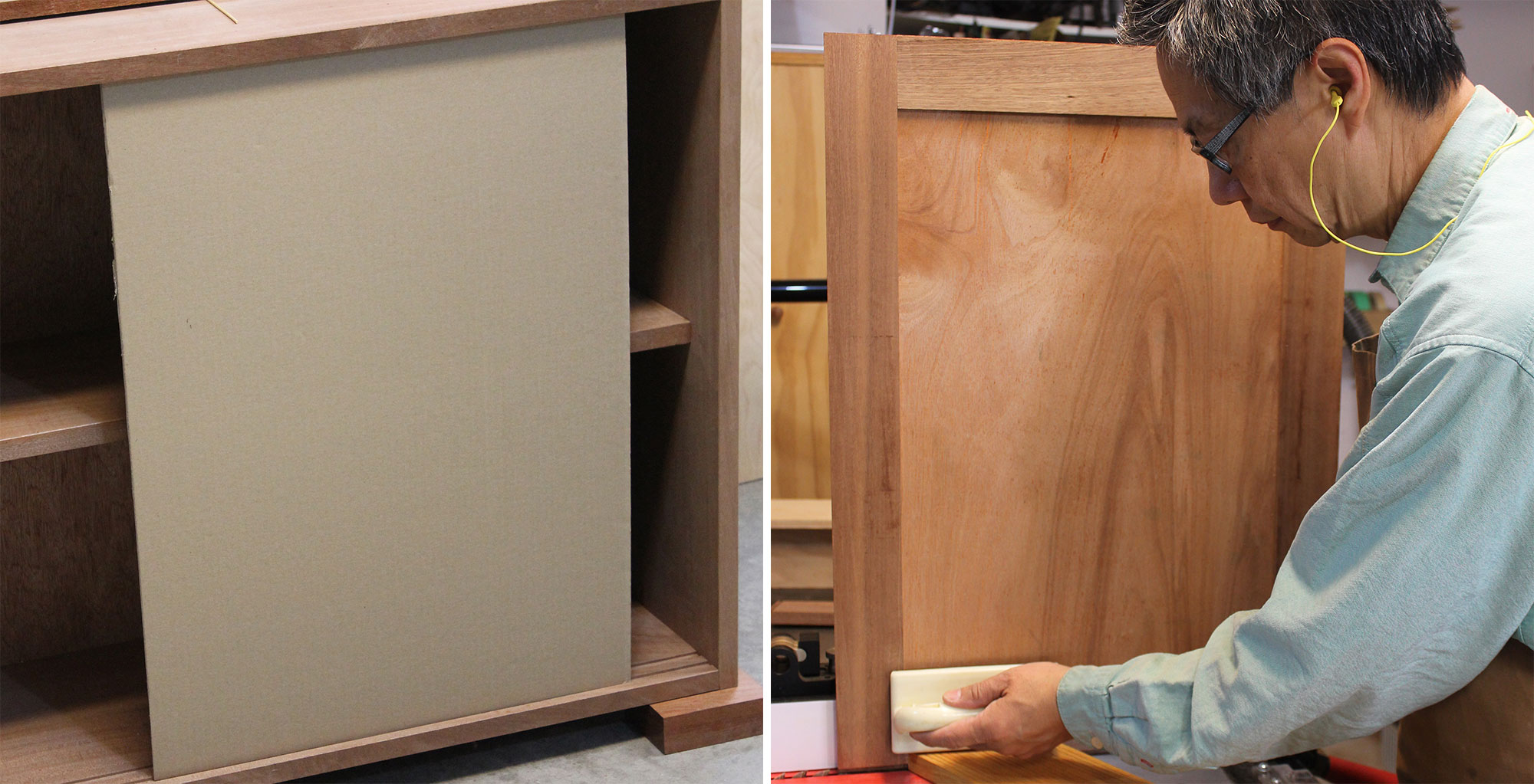 Left: Using two cardboard doors to confirm the accuracy of the author's size calculation. Right: Trimming the doors after the mock-up exercise.