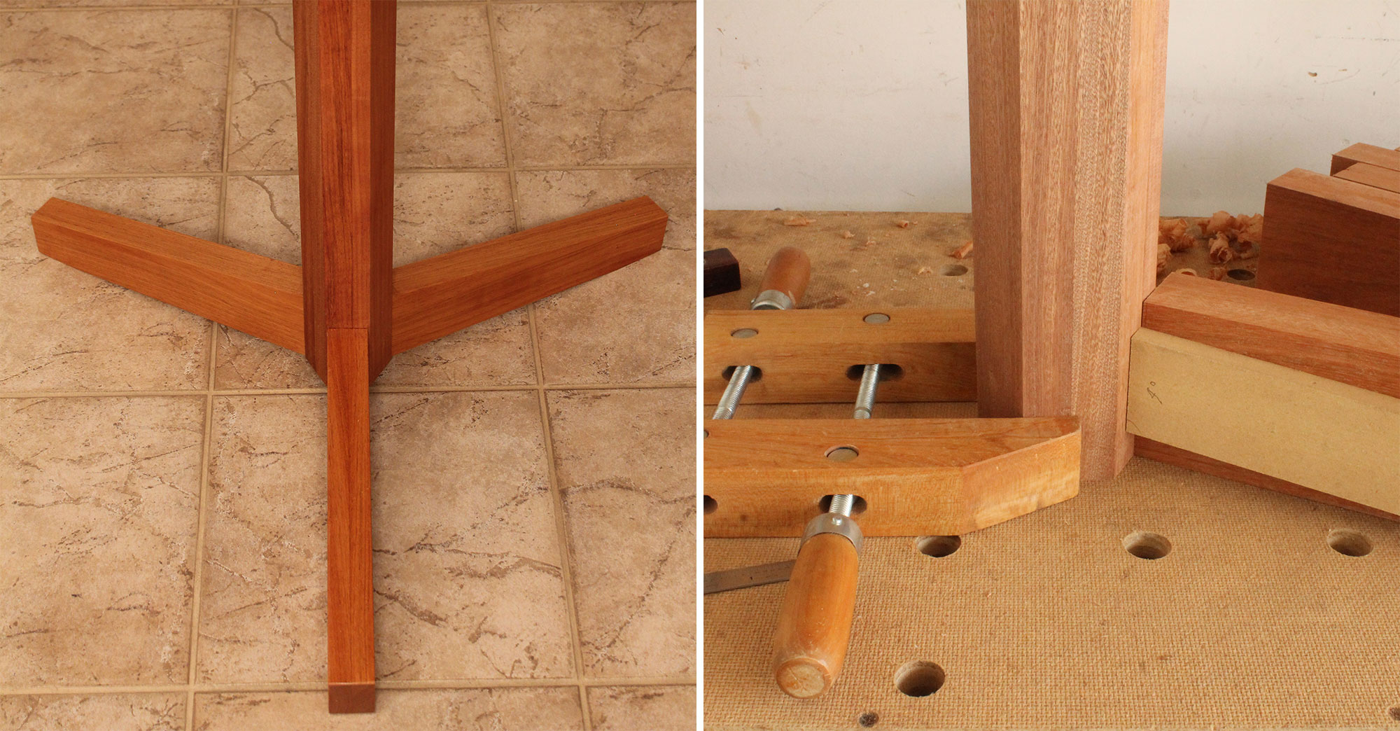 Left: The angle of cut for this three-legged table's feet was determined without using any calculations. Right: The author held a mock-up foot to the pedestal to see the elevation of the foot relative to the floor.