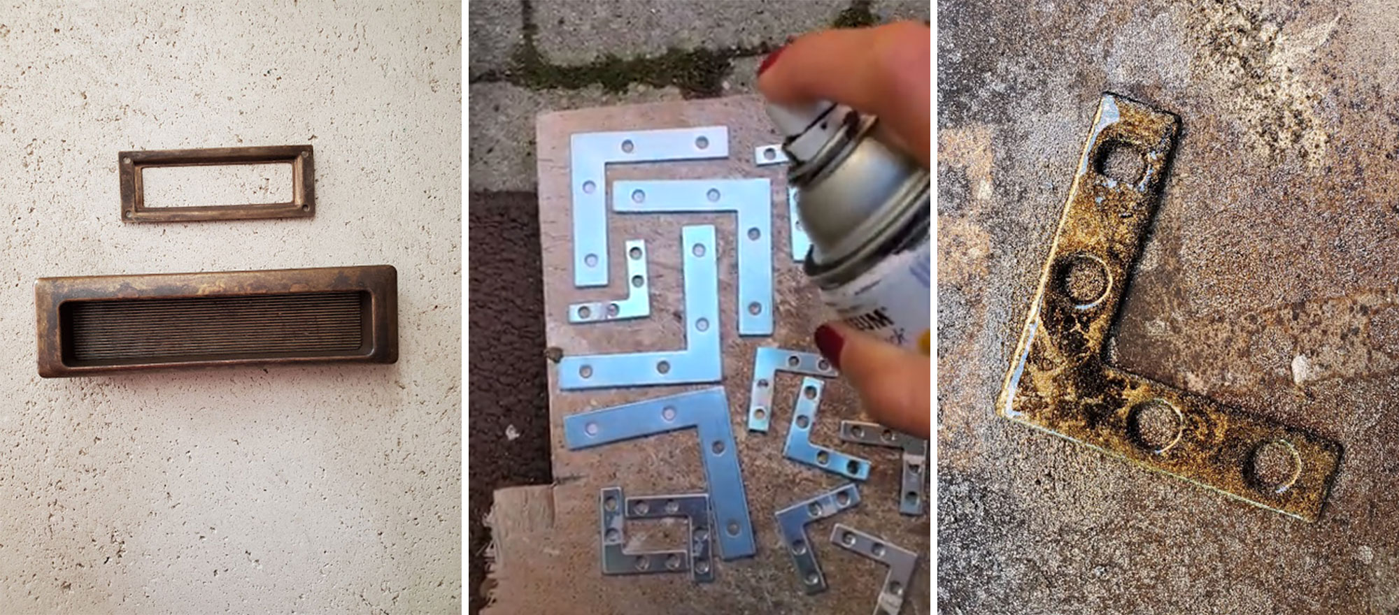 Image left: The new hardware for the dresser. Image middle: Spray painting the silver brackets. Image right: Spray painted bracket.