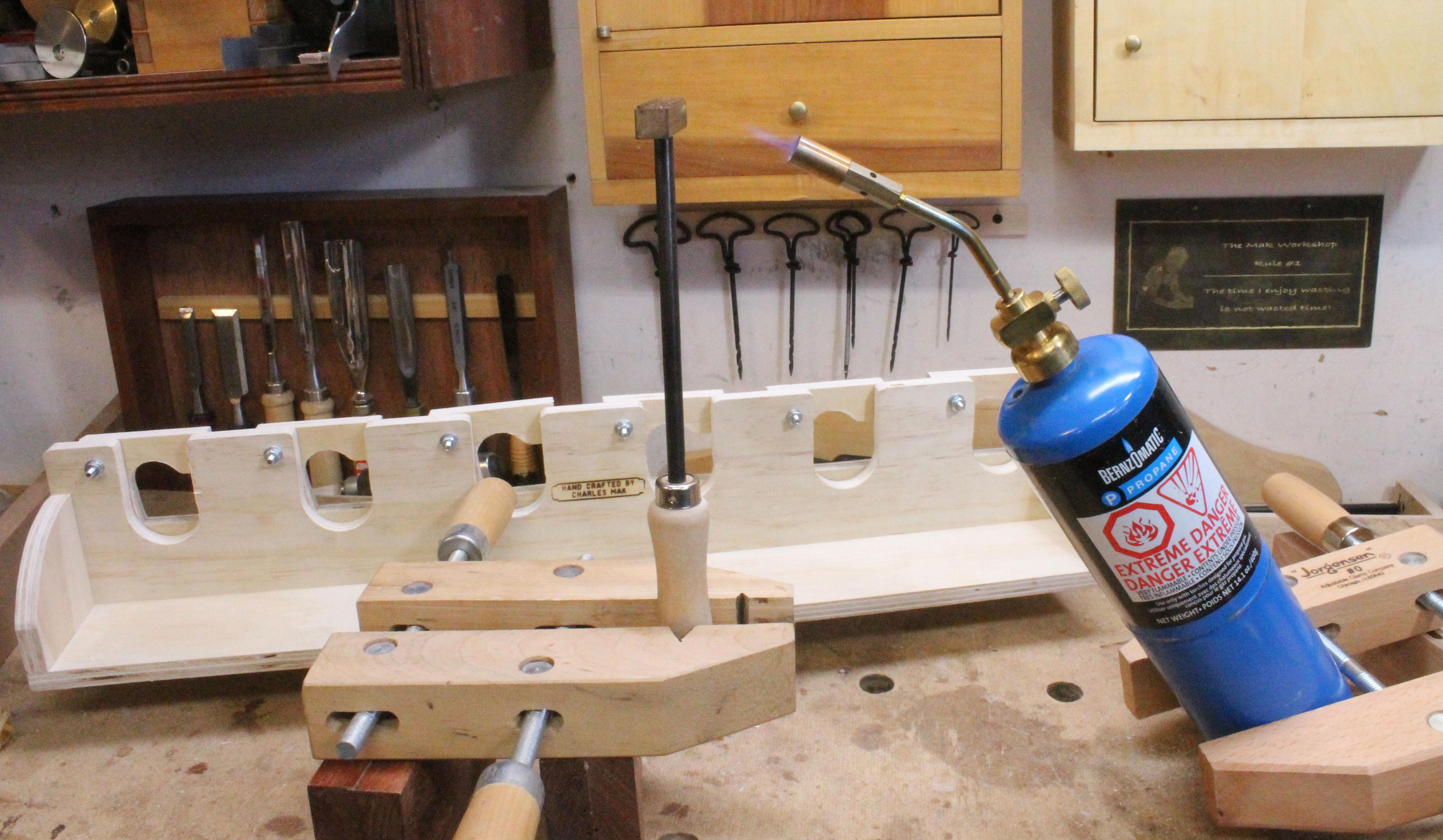 Branding the tool rack.
