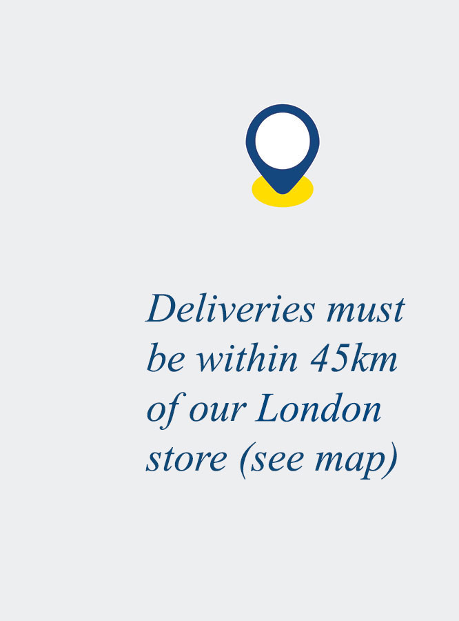 Deliveries must be within 45km of our London store (see map)