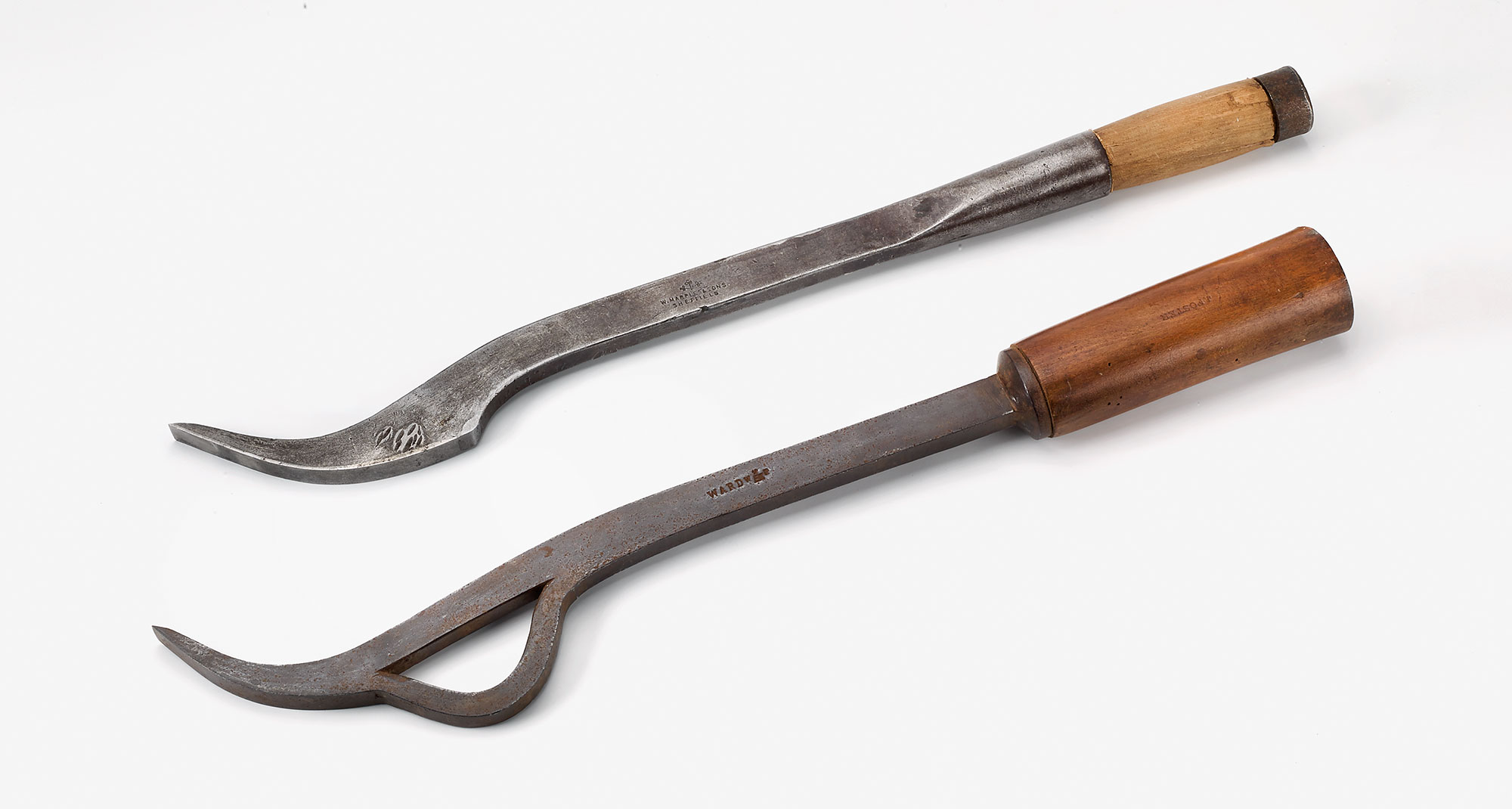 At the top is shown the standard type mortise chisel; below it is shown a swan's neck mortise chisel